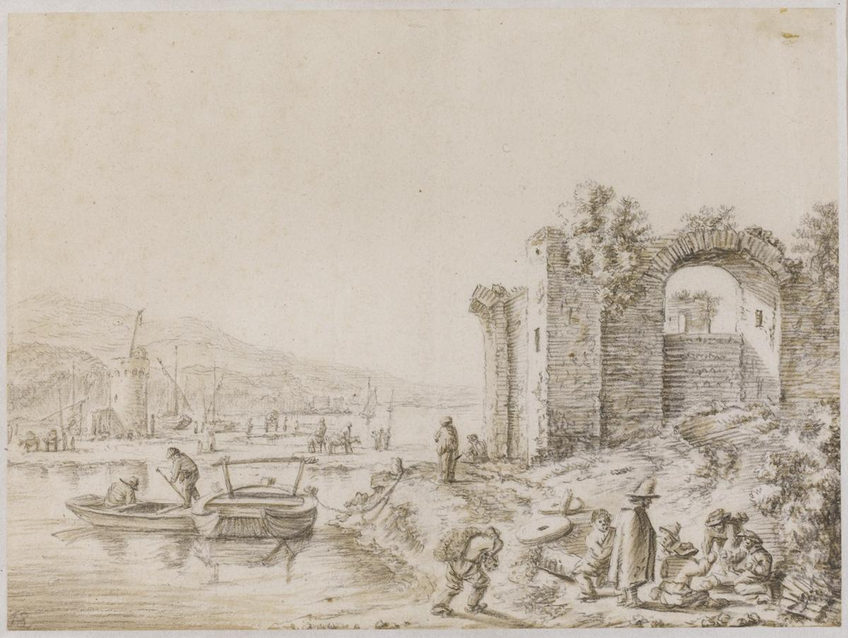 28. Landscape with ruins by a river