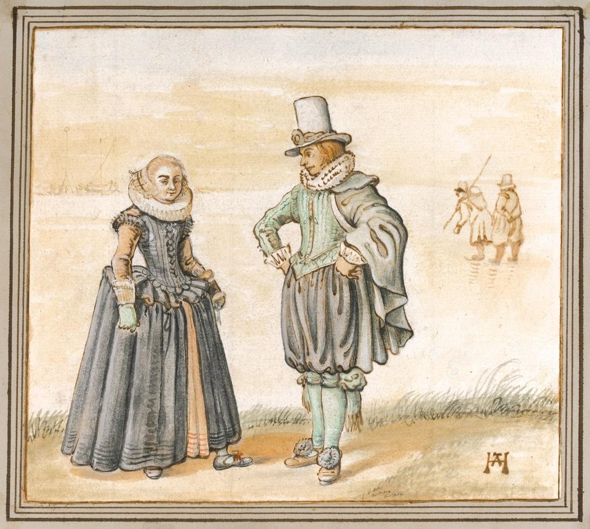 Avercamp_Winter Scene, A Man And Woman Standing On Ice