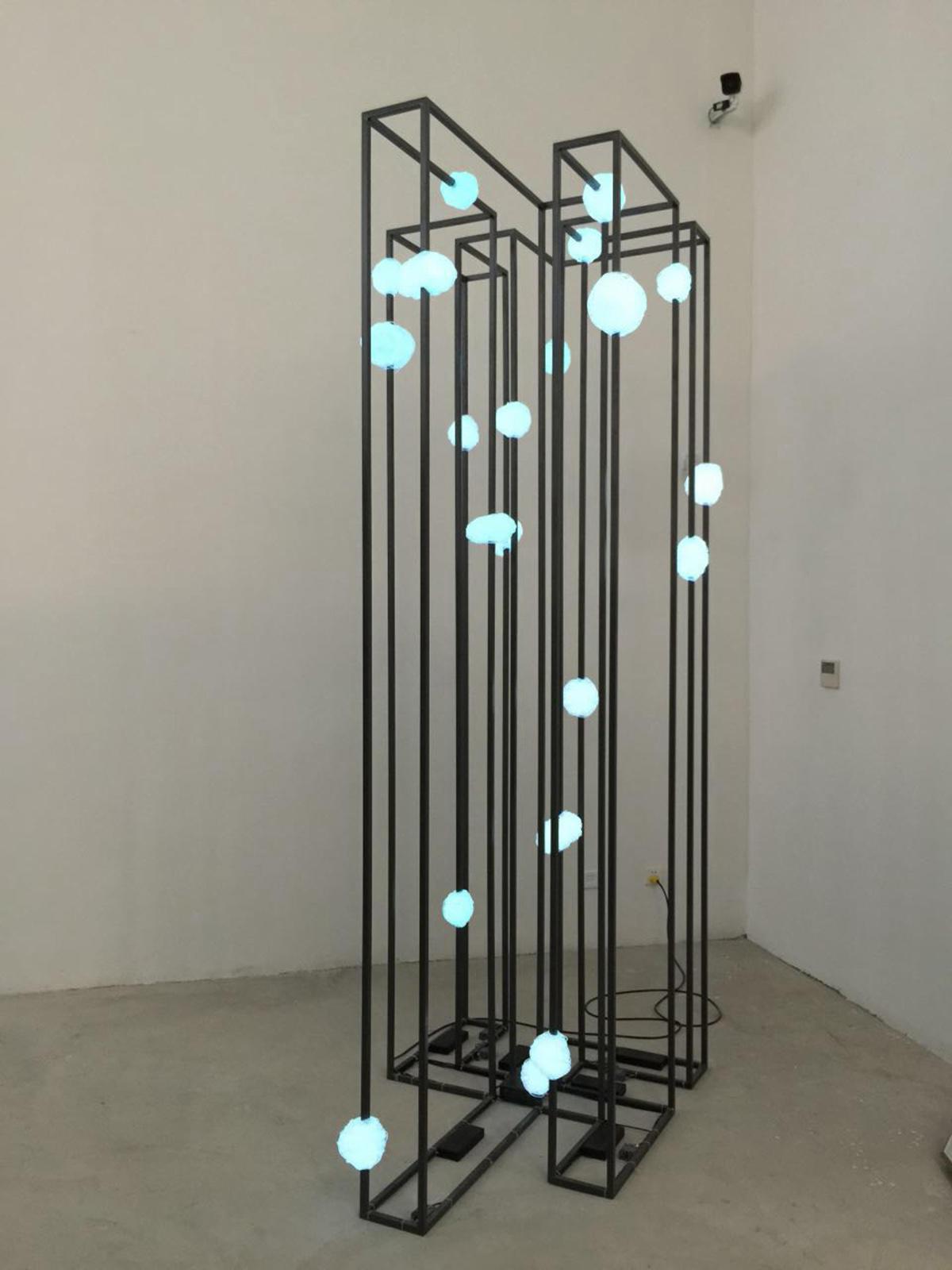 无题 2015 EL冷光线 铁架 EL neon rope light iron frame 147x100x300cm