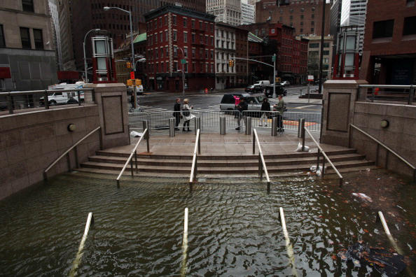 Flooding in Manhattan after Superstorm Sandy hit New York in 2012. Allison Joyce/Getty Images
