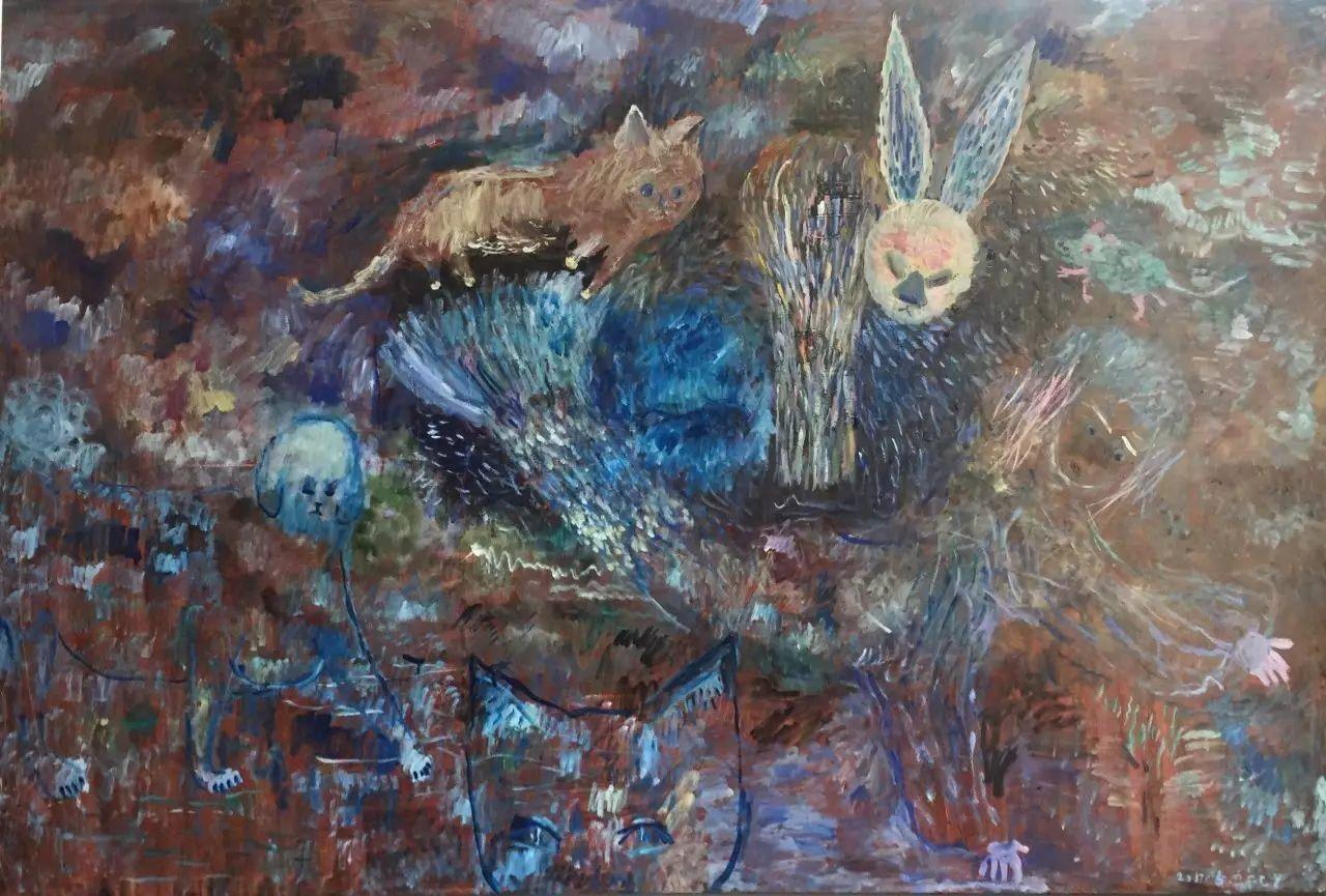 冯藏予,《无题》,180 x 120 cm,布面丙烯,2017