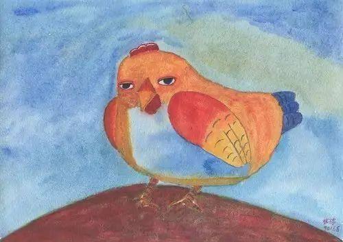 张子贵,《母鸡》, 26x18.5cm,纸上丙烯,2016
