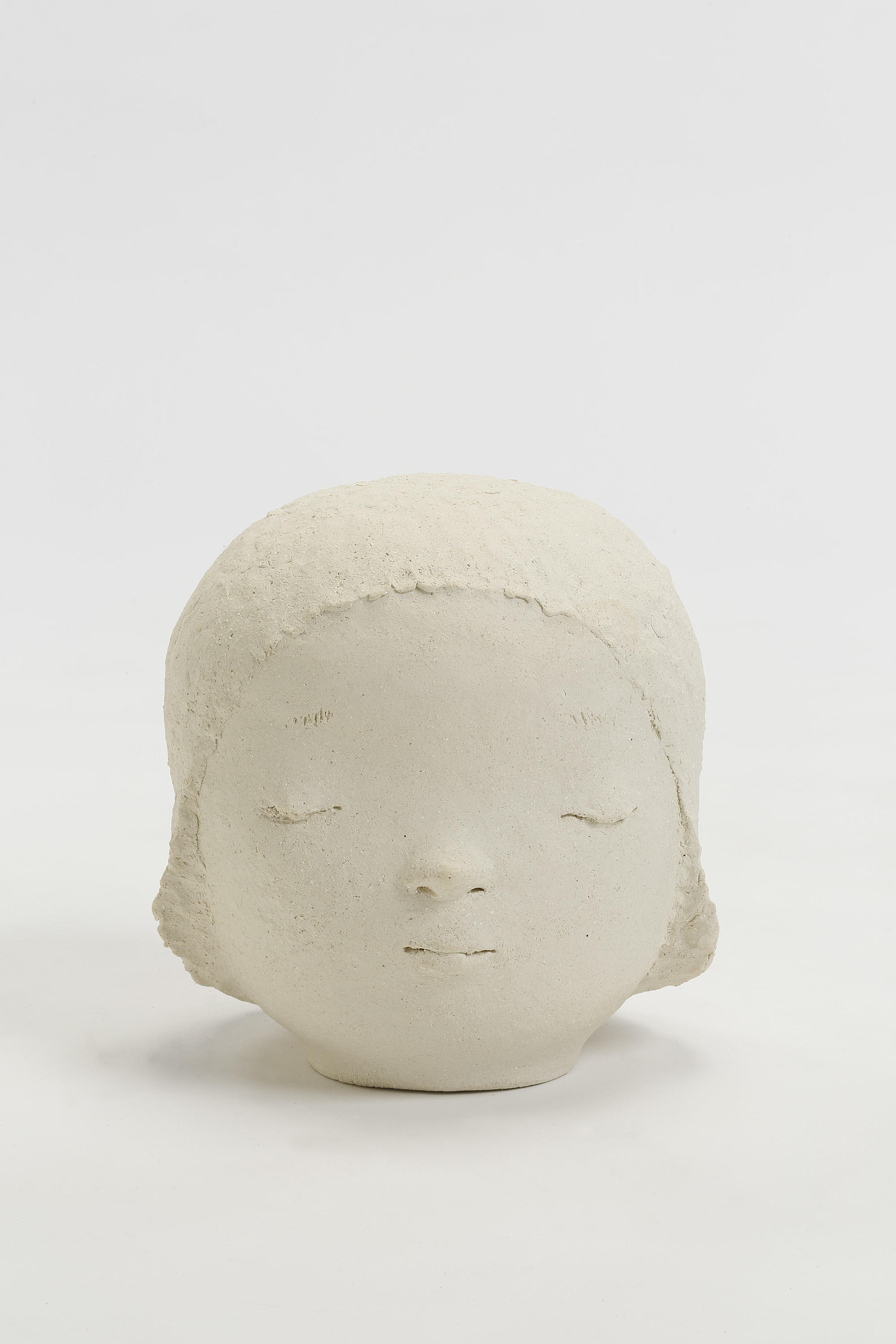 "Yoshitomo Nara, Head 2, 2018,  ceramic,  11"" x 10-3/16"" x 9-9/16"" (27.9 cm x 25.9 cm x 24.3 cm),  SCULPTURE,  No. 68820, view 1,  Alt # C-2018-023, Format of original photography: hi-res TIFF"