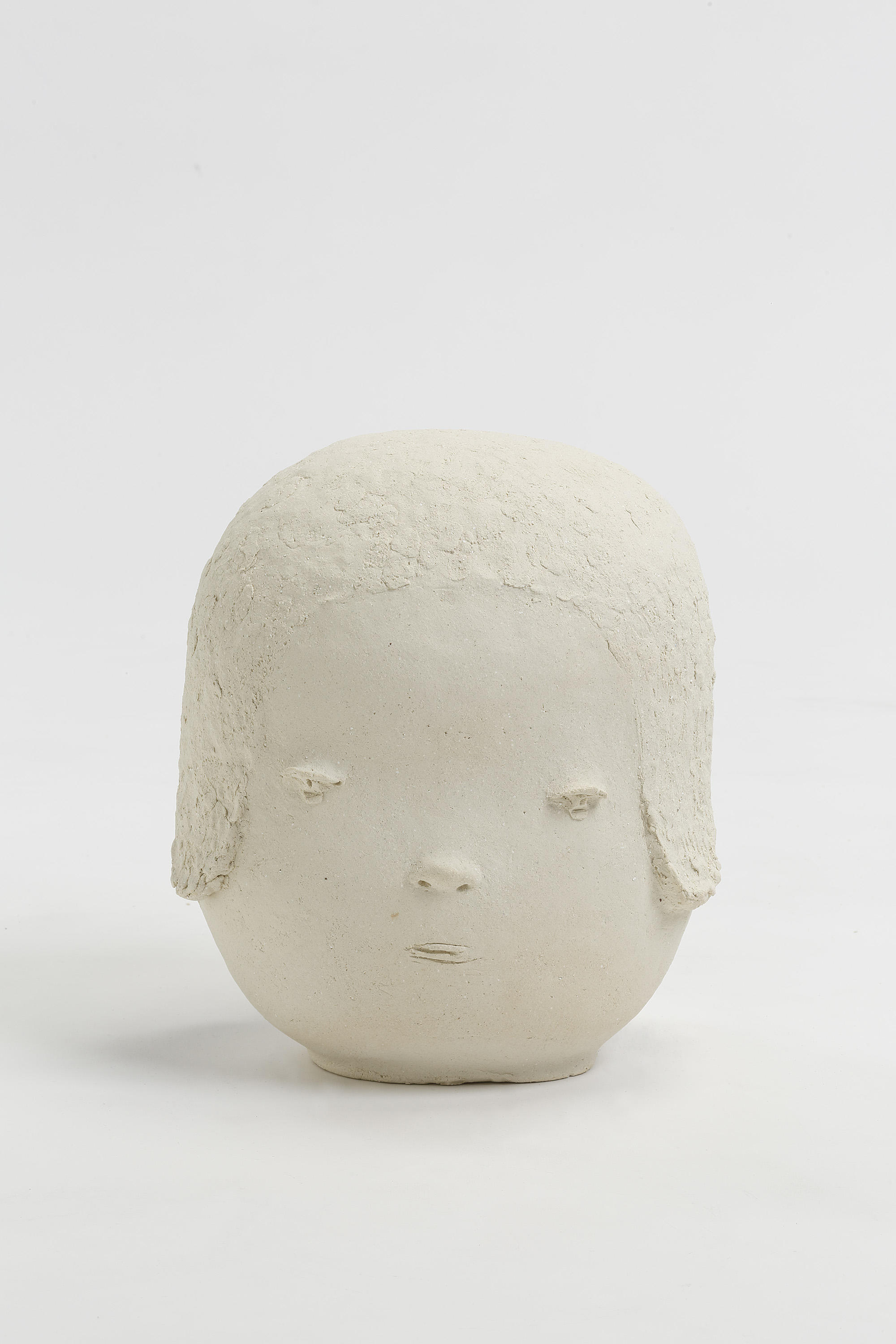 "Yoshitomo Nara, Head 3, 2018,  ceramic,  12-7/16"" x 10-3/4"" x 8-7/8"" (31.6 cm x 27.3 cm x 22.5 cm),  SCULPTURE,  No. 68821, view 1,  Alt # C-2018-024,  Format of original photography: hi-res TIFF"