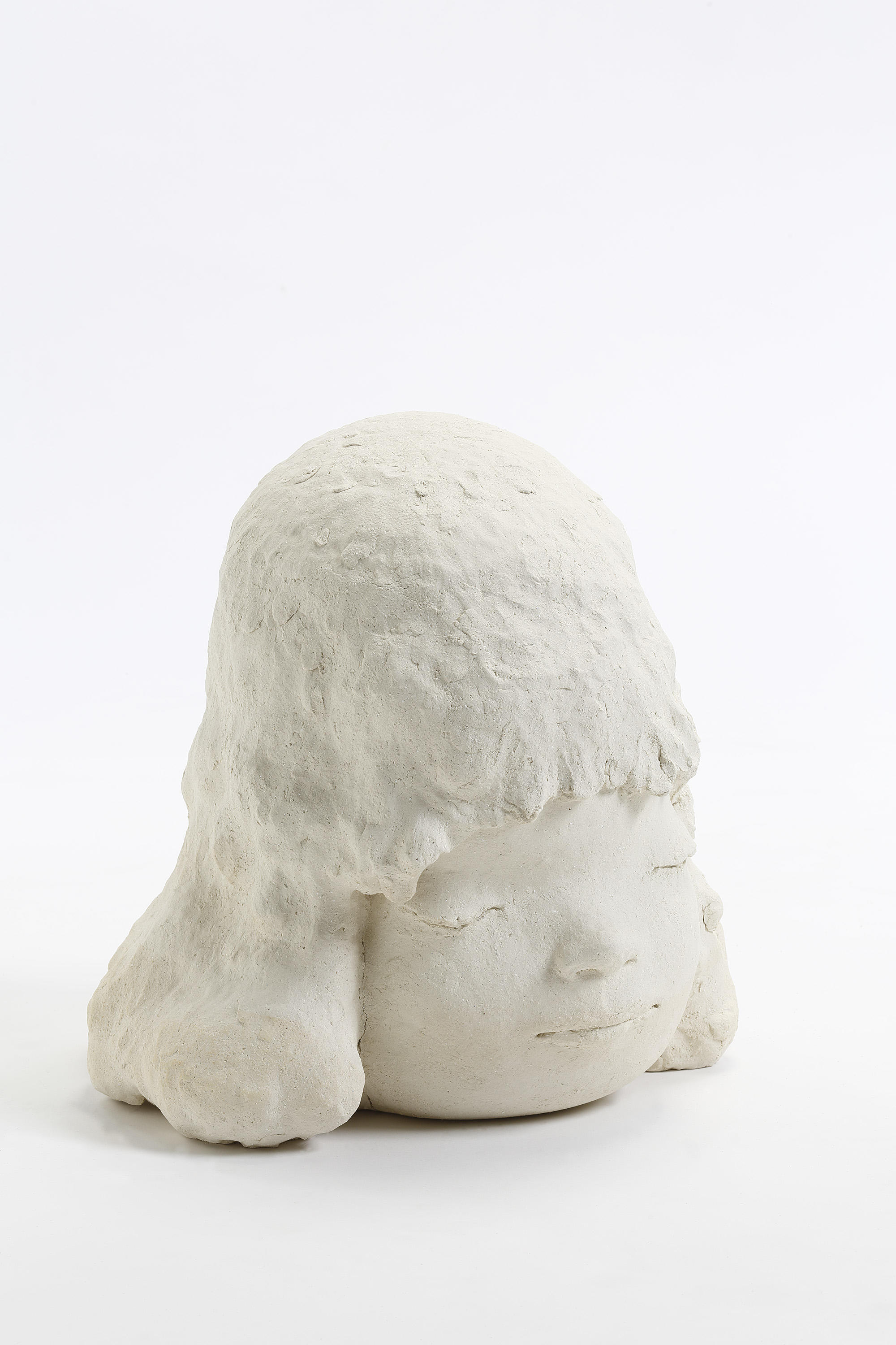 "Yoshitomo Nara, Sleepy Head, 2018,  ceramic,  16-1/8"" x 16-15/16"" x 15-15/16"" (41 cm x 43 cm x 40.5 cm),  SCULPTURE,  No. 68826, view 3,  Alt # C-2018-029, Format of original photography: hi-res TIFF"