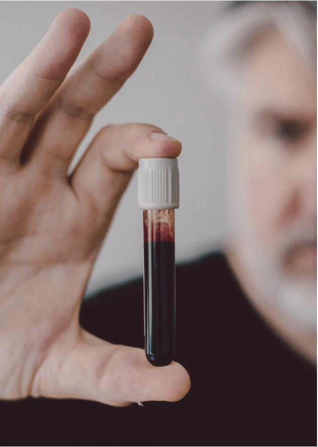 "A vial of blood used to stamp blockchain addresses onto paper for a project that Mr. Abosch called ""IAMA Coin"" (2018), New York Times"
