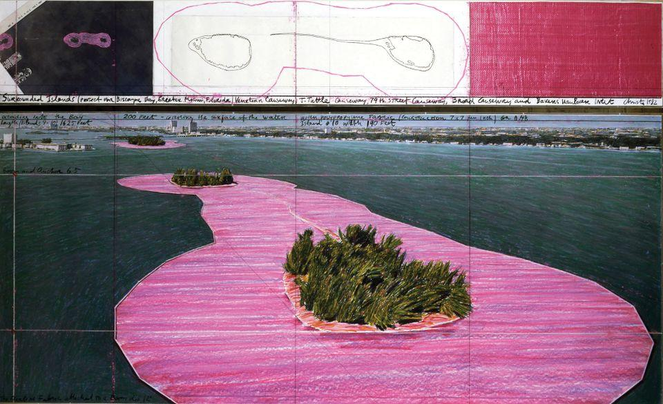 A sketch for Christo and Jeanne-Claude's Surrounded Islands, in an exhibition about the work at the Pérez Art Museum Miami. Courtesy of Perez Art Museum Miami