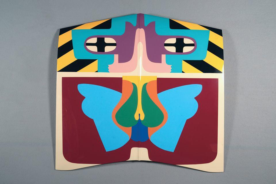 Judy Chicago, Flight Hood, 1965/2011; Sprayed automotive lacquer on car hood, 43 x 43 x 4 1/8 in; © Judy Chicago/Artist Rights Society (ARS), New York;  Photo © Donald Woodman/ARS NY Courtesy Salon 94, New York, and Jessica Silverman Gallery, San Francisco