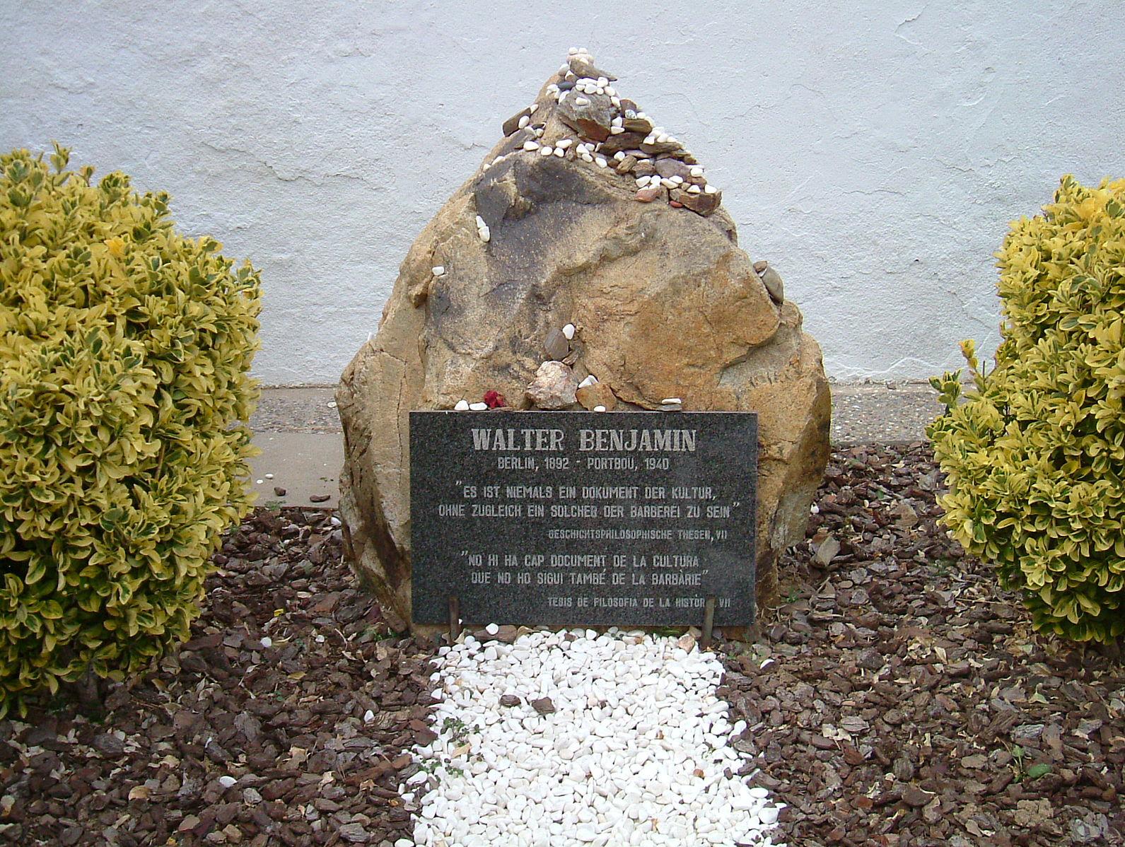 Memorial stone for Walter Benjamin in Portbou, Spain